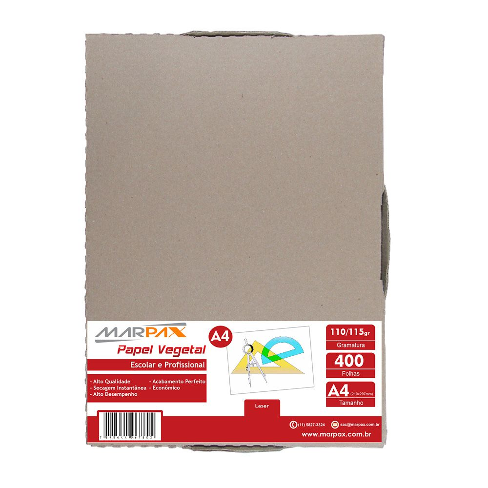 Papel Vegetal A4 210x297mm 110/115 g/m² Translúcido 400Fls