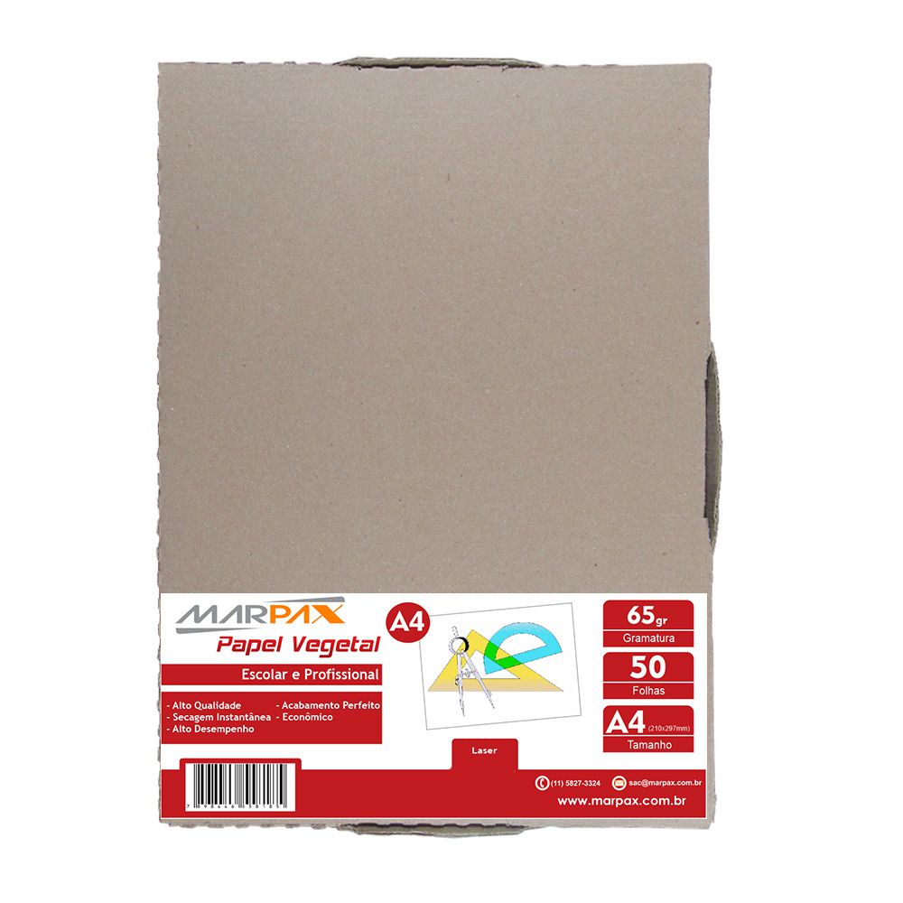 Papel Vegetal A4 210x297mm 65 g/m² Translúcido Bloco 50 Fls