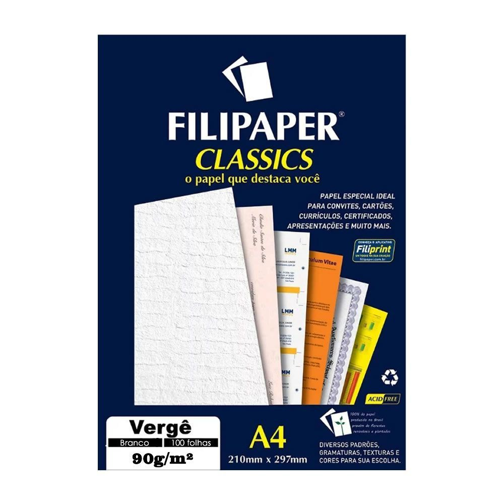 Papel Vergê Branco A4 210x297mm 90g/m² Filipaper 100 Folhas