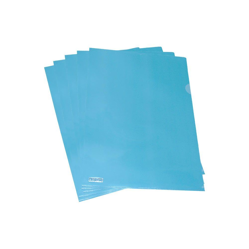 Pasta L A4 Plástica 218x306mm PP Azul Plastpark 10un