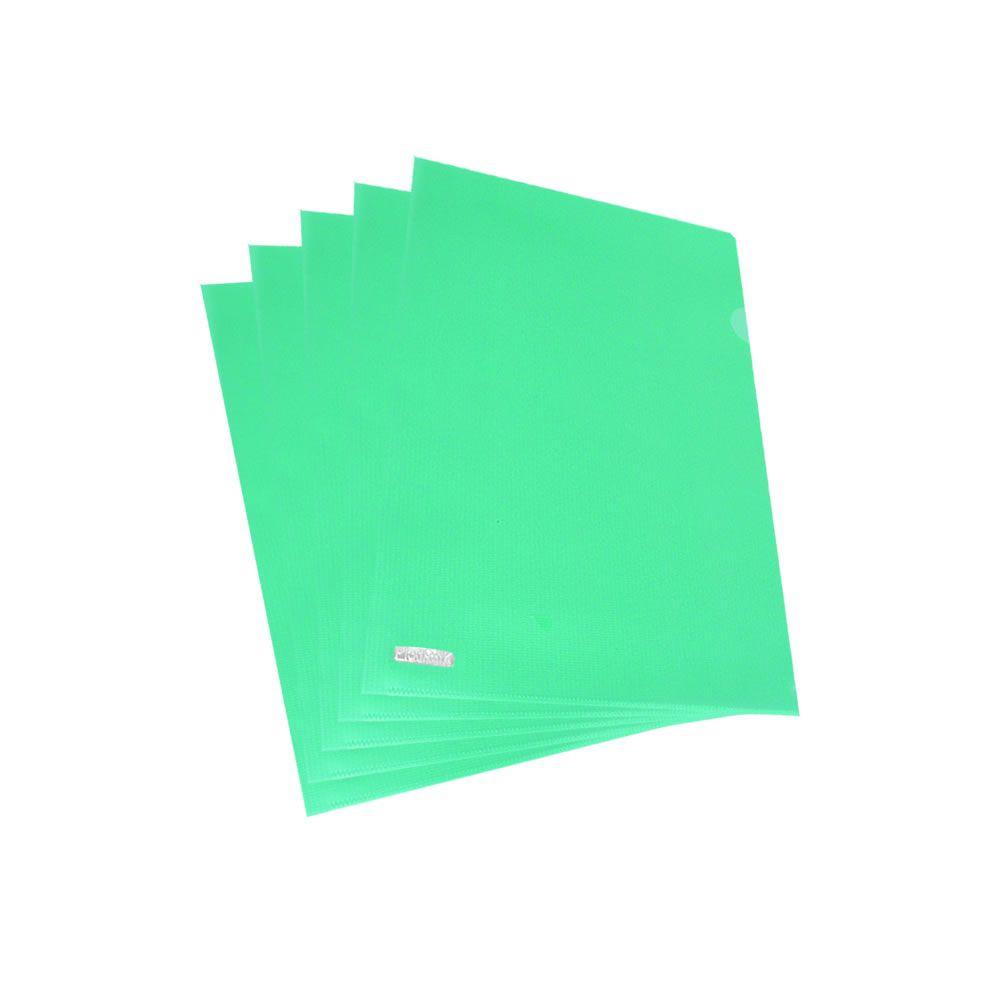 Pasta L A4 Plástica 218x306mm PP Verde Plastpark 10un