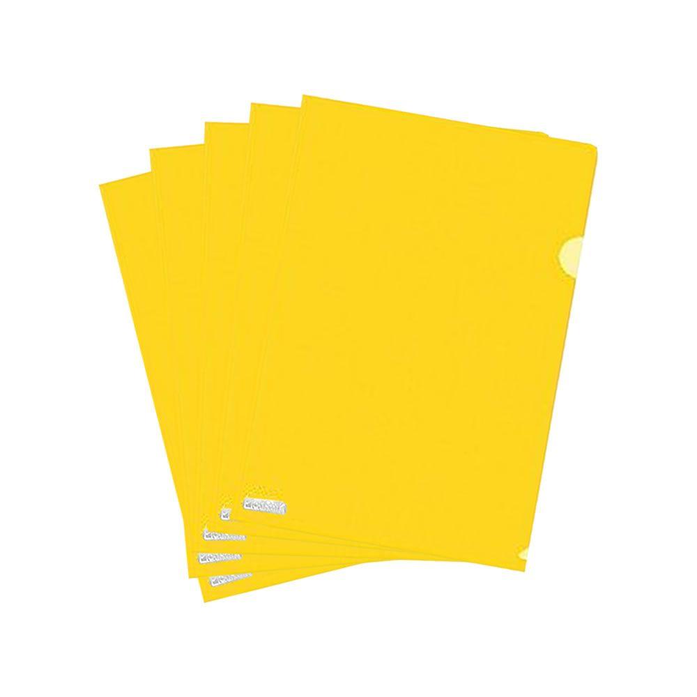 Pasta L Ofício Plástica 224x335mm Amarelo Plastpark 10un