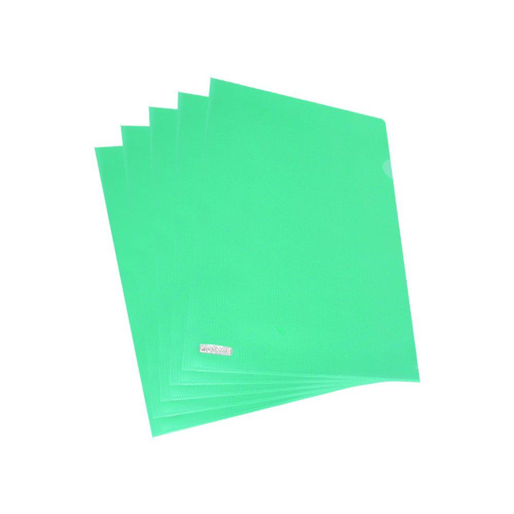 Pasta L Ofício Plástica 224x335mm Verde Plastpark 10un