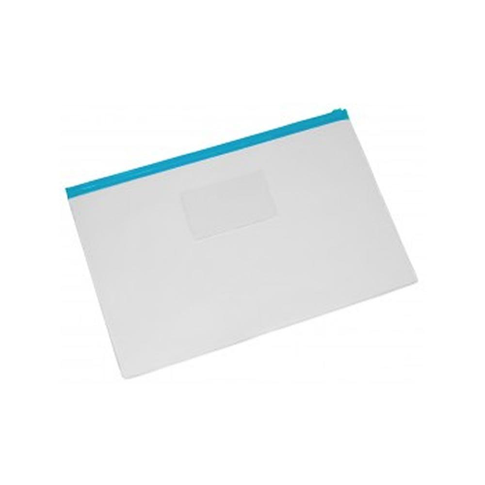 Pasta Zip Transparente com Ziper Azul Grande Plastpark 05un