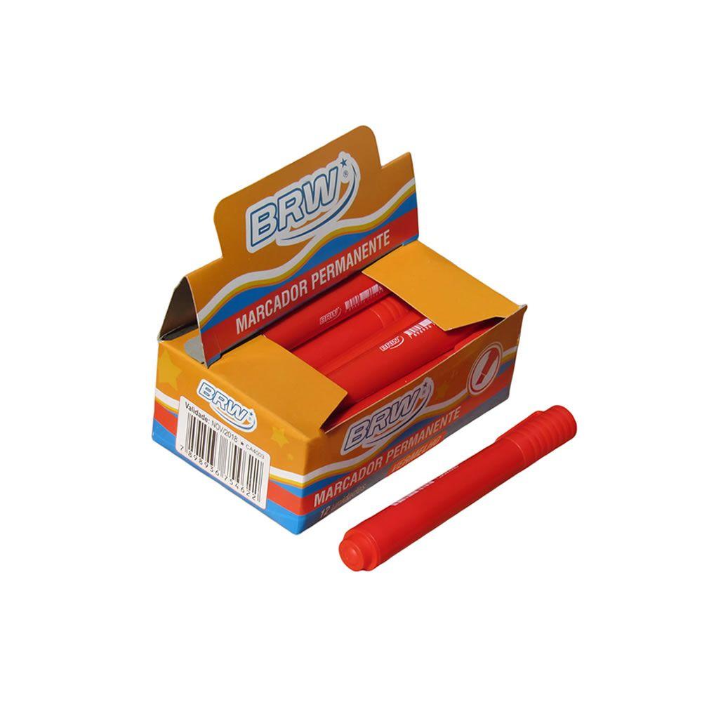 Pincel Atômico Permanente Vermelho ponta chanfrada BRW 12un