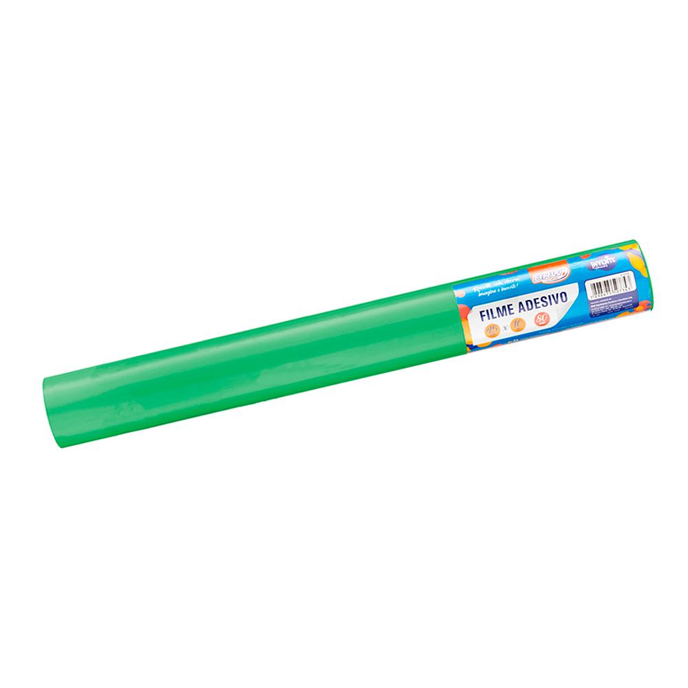 Plástico Adesivo Verde Brilho 80mic 45cmx10 metros BRW