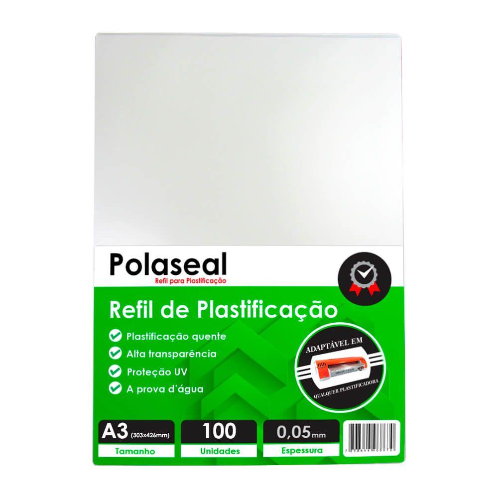 Polaseal Plástico para Plastificação A3 303x426x0,05mm 100un