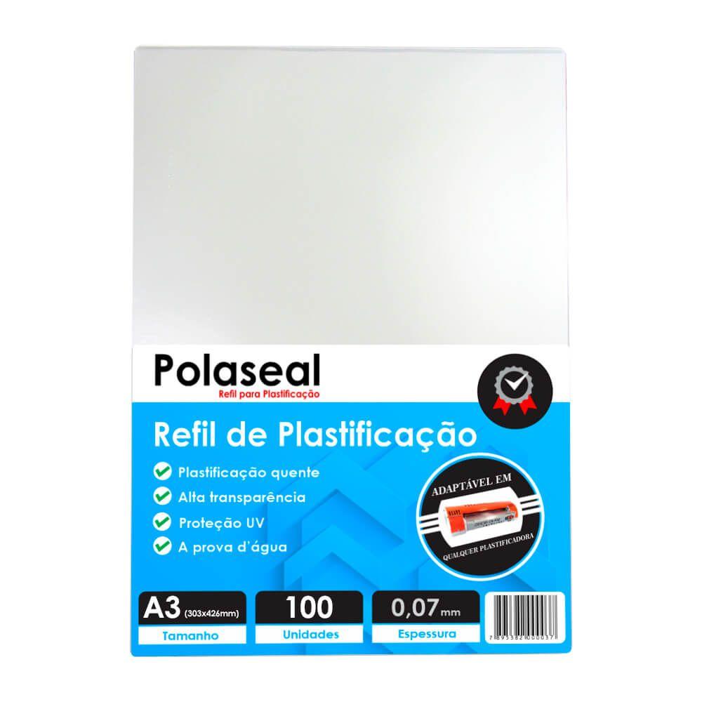 Polaseal Plástico para Plastificação A3 303x426x0,07mm 100un