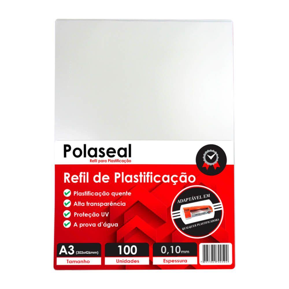 Polaseal Plástico para Plastificação A3 303x426x0,10mm 100un