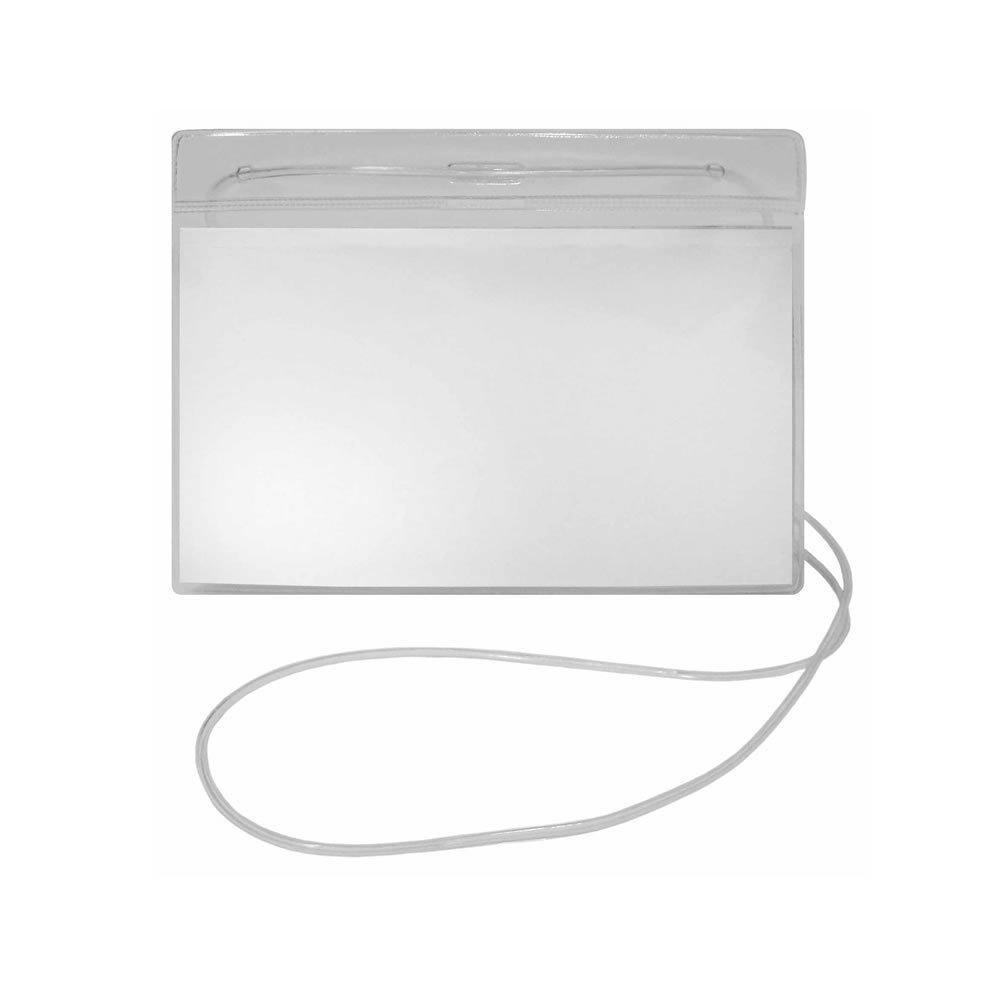 Porta Crachá PVC Cordão Silicone horizontal 12x8cm Plastpark 100un