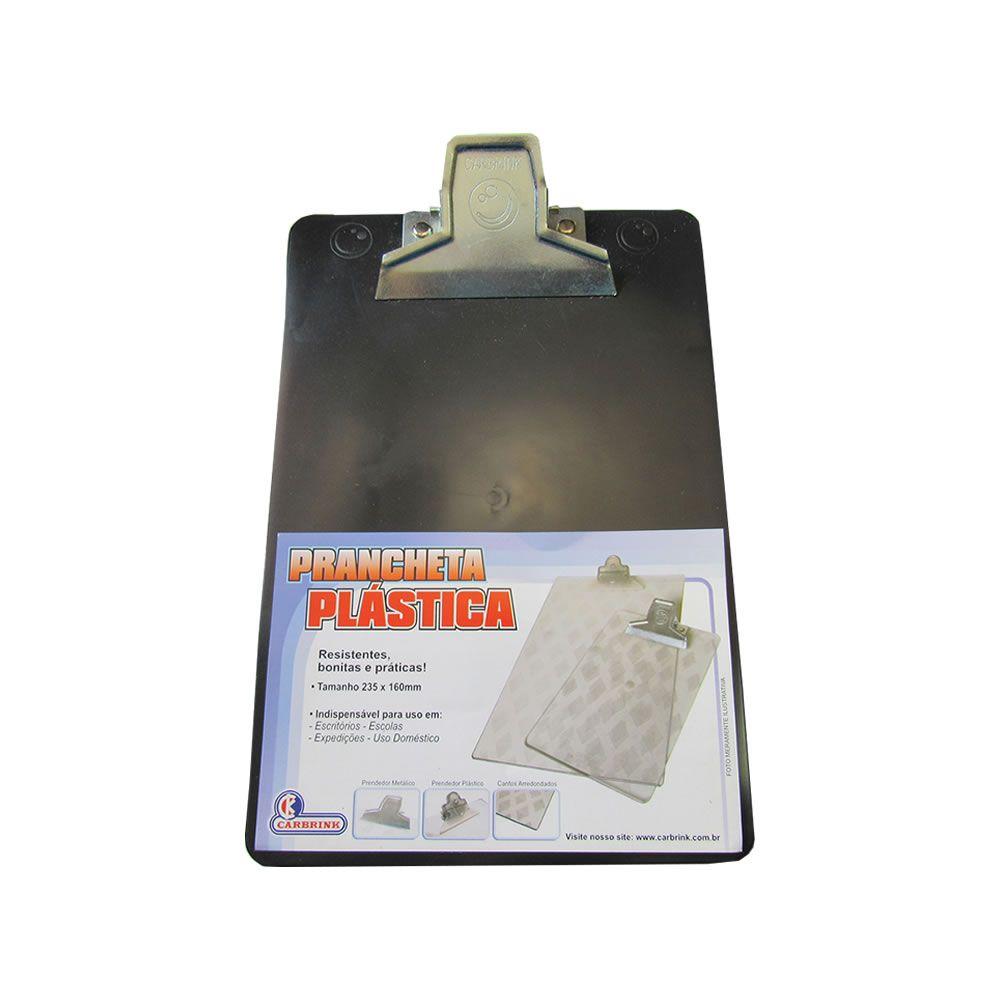 Prancheta Pequena 235x160mm Preta Garra metal Carbrink 01un