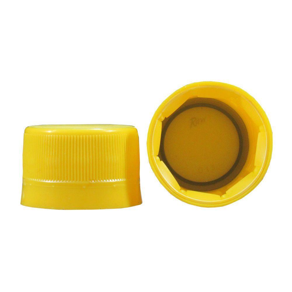 Tampa Plástica com lacre p/ garrafa pet 28mm Amarelo 1000un