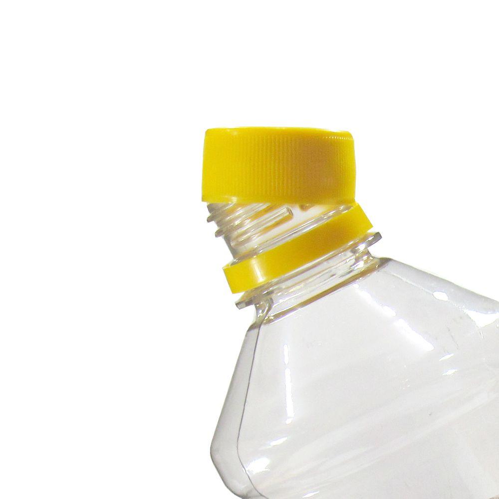 Tampa Plástica com lacre p/ garrafa pet 28mm Amarelo 100un