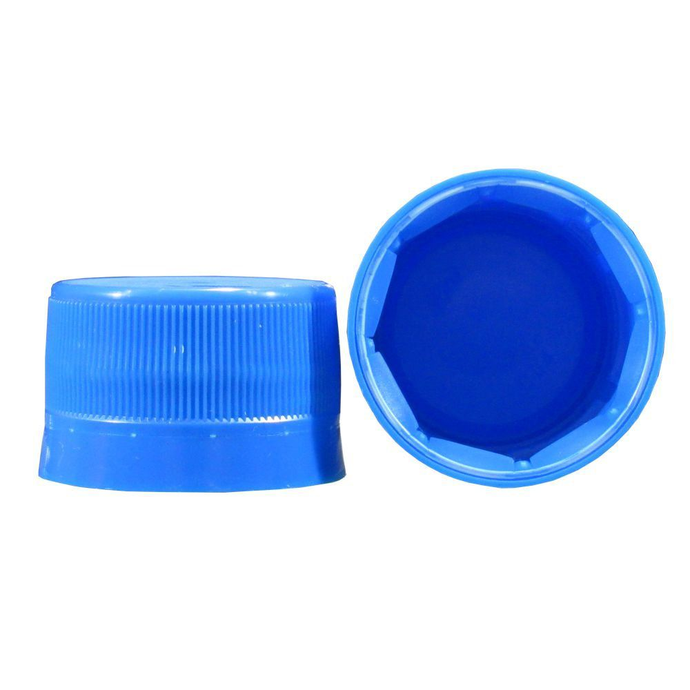 Tampa Plástica com lacre p/ garrafa pet 28mm Azul 500un