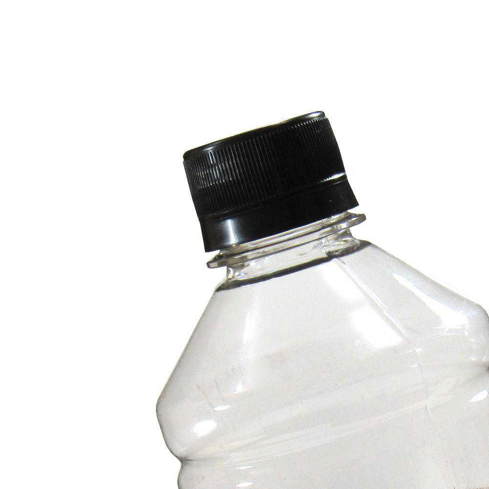 Tampa Plástica com lacre p/ garrafa pet 28mm Preto 1000un