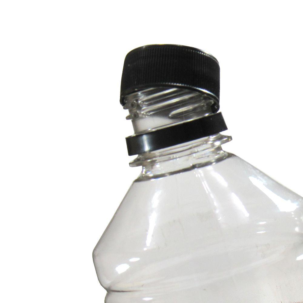 Tampa Plástica com lacre p/ garrafa pet 28mm Preto 500un