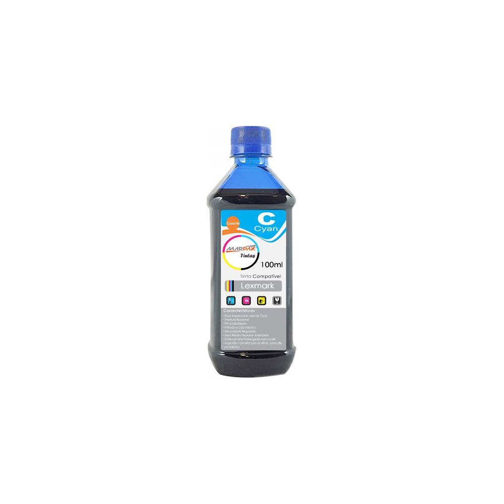 Tinta para impressora Lexmark Compatível Cyan Marpax 100ml