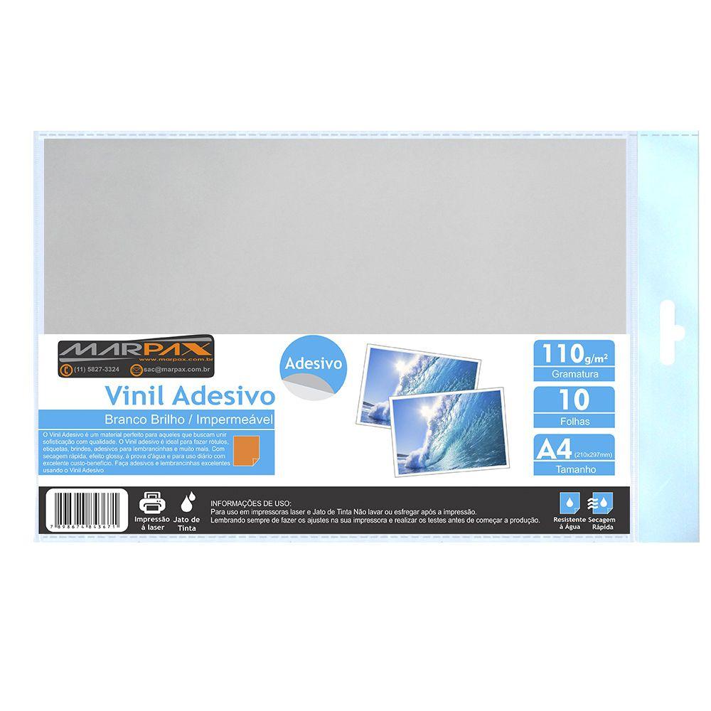 Vinil Adesivo A4 110g Branco Brilho impermeável Marpax 10 folhas