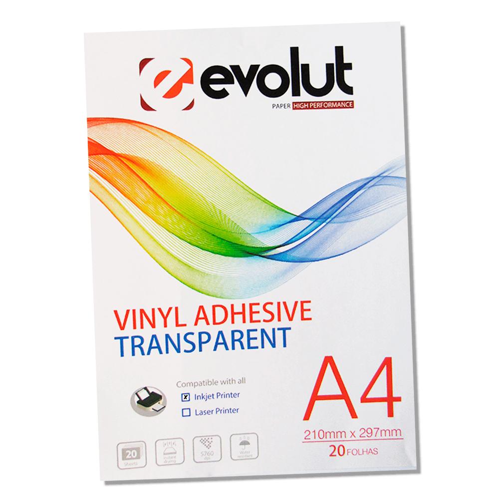 Vinil Adesivo A4 70g Semitransparente Brilho Jato de tinta Evolut 20un