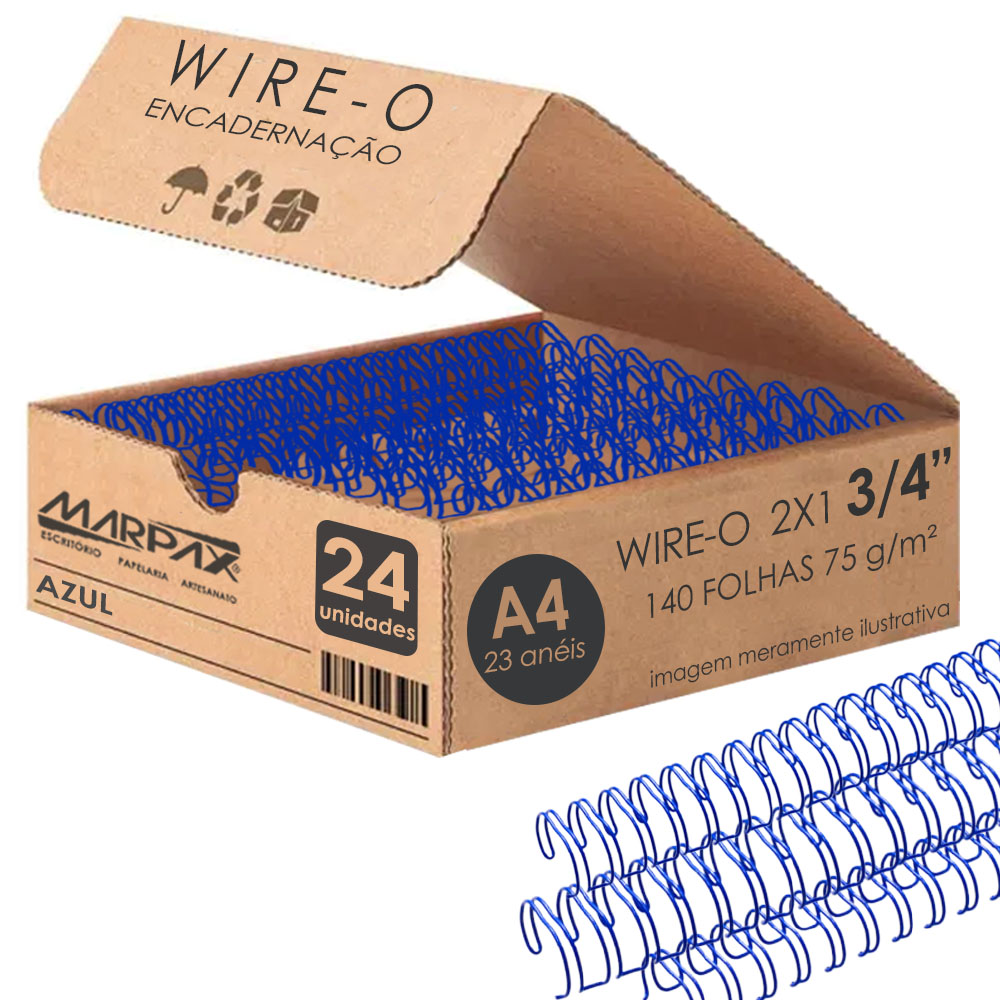Wire-o para Encadernação 2x1 A4 Azul 3/4 para 140fls 36un