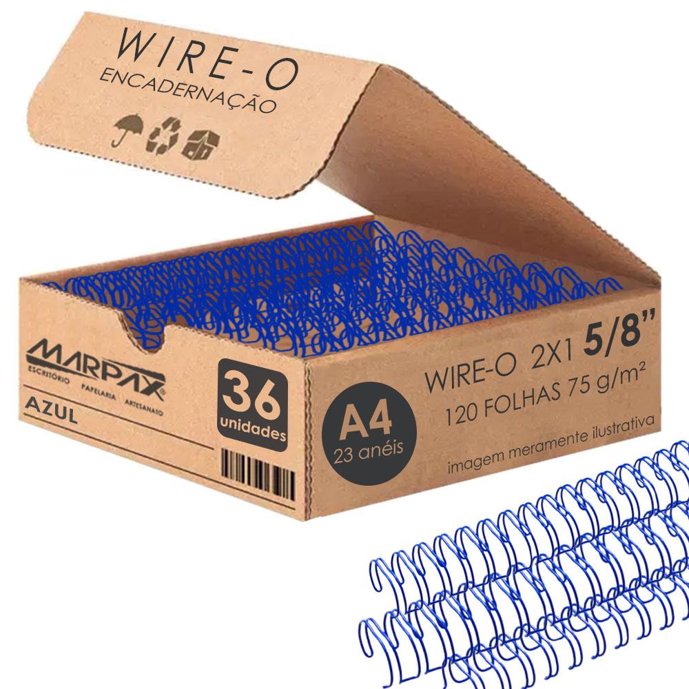 Wire-o para Encadernação 2x1 A4 Azul 5/8 para 120fls 36un
