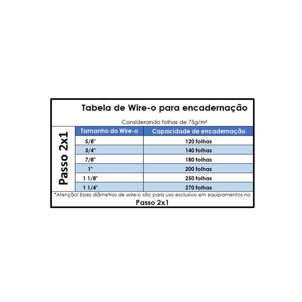 Wire-o para Encadernação 2x1 A4 Branco 1 para 200 fls 50un
