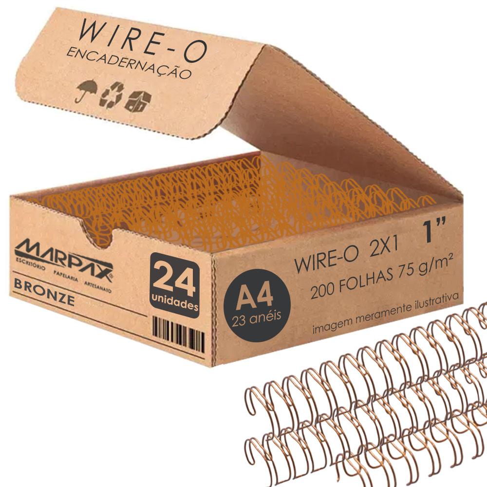 Wire-o para Encadernação 2x1 A4 Bronze 1 para 200 fls 24un