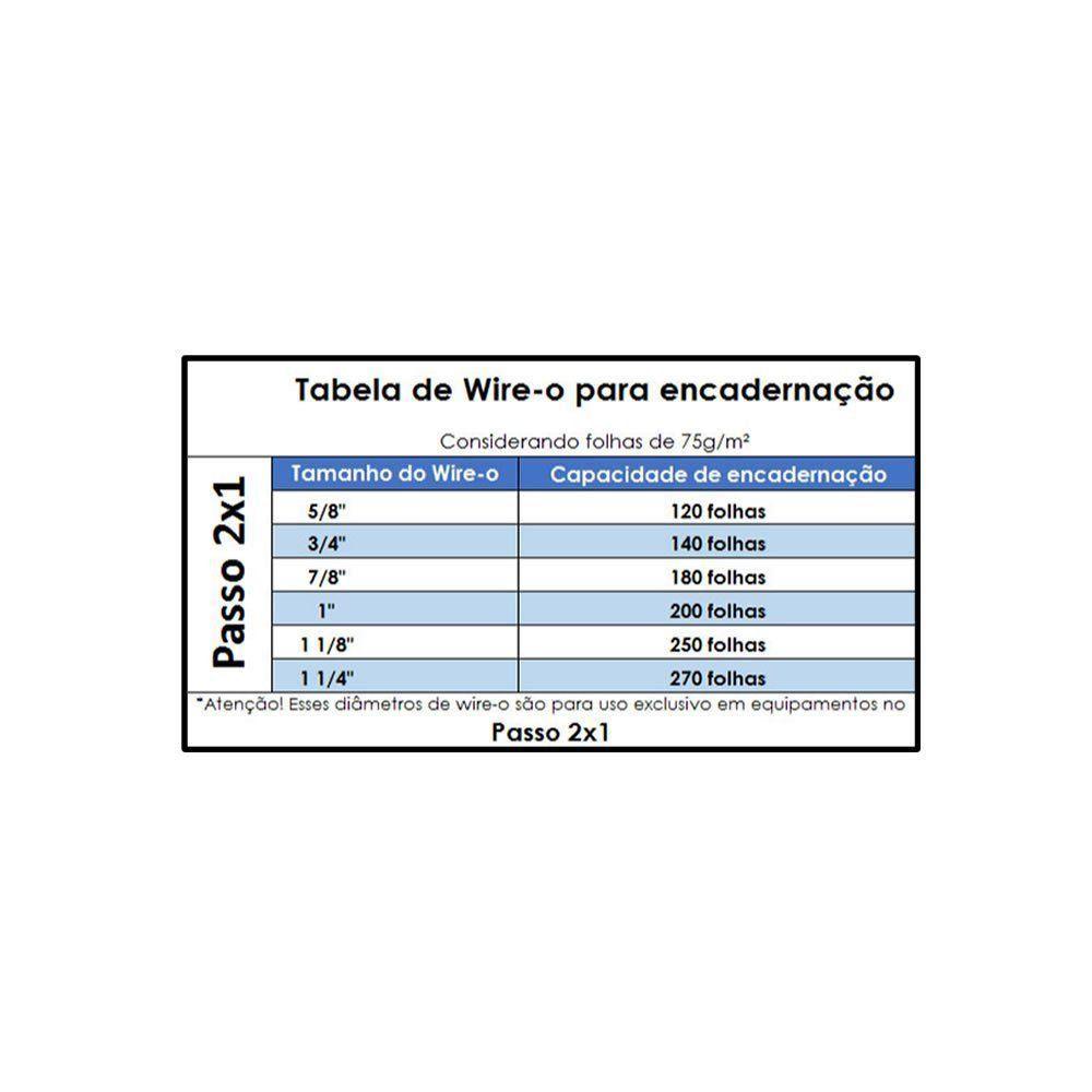 Wire-o para Encadernação 2x1 A4 Bronze 3/4 para 140fls 36un