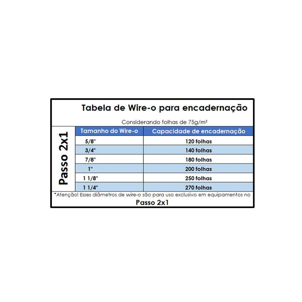 Wire-o para Encadernação 2x1 A4 Prata 1 1/4 até 270fls 25un