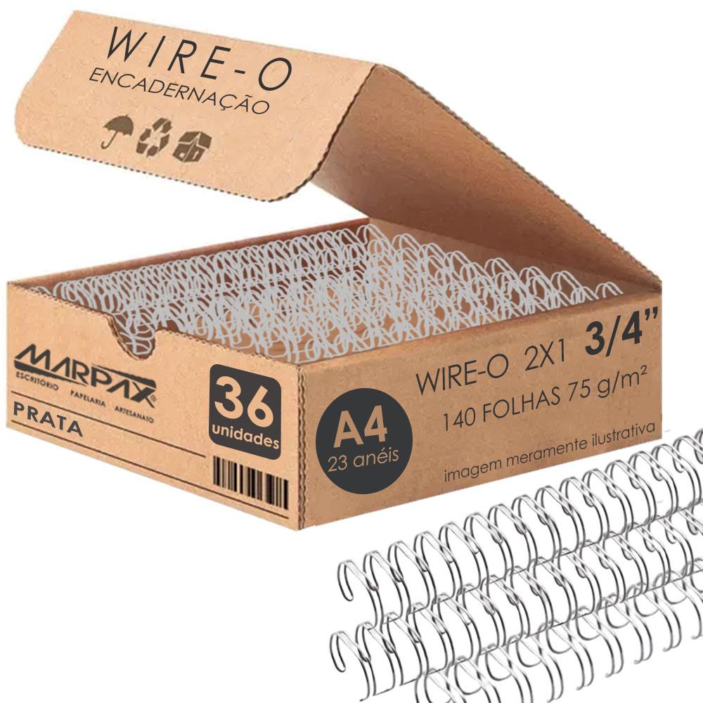 Wire-o para Encadernação 2x1 A4 Prata 3/4 para 140 fls 36un