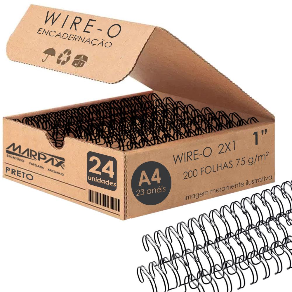 Wire-o para Encadernação 2x1 A4 Preto 1 para 200 fls 24un