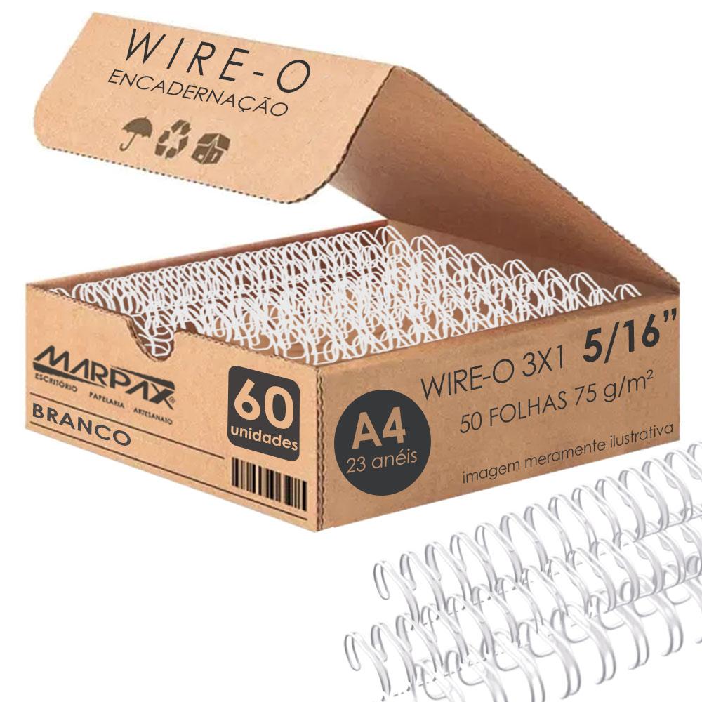 Wire-o para Encadernação 3x1 A4 Branco 5/16 até 50fls 60un