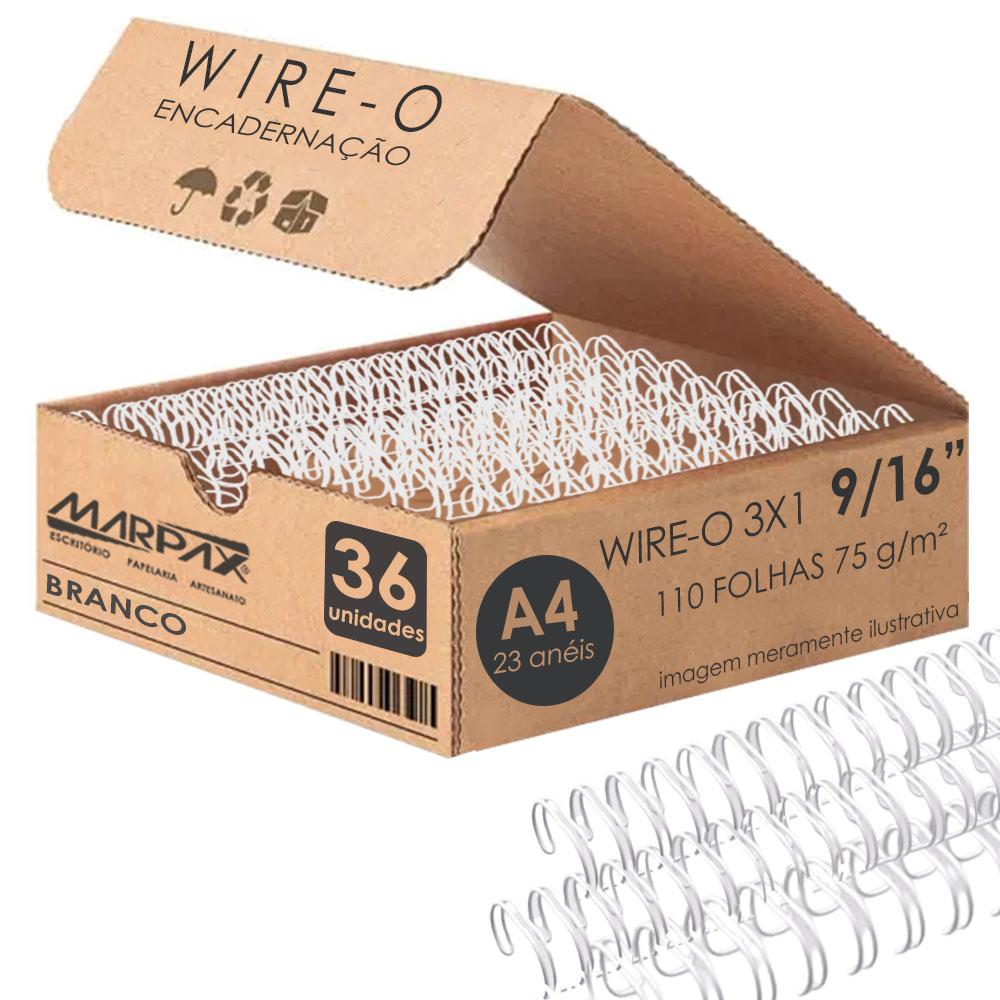 Wire-o para Encadernação 3x1 A4 Branco 9/16 para 110fls 36un