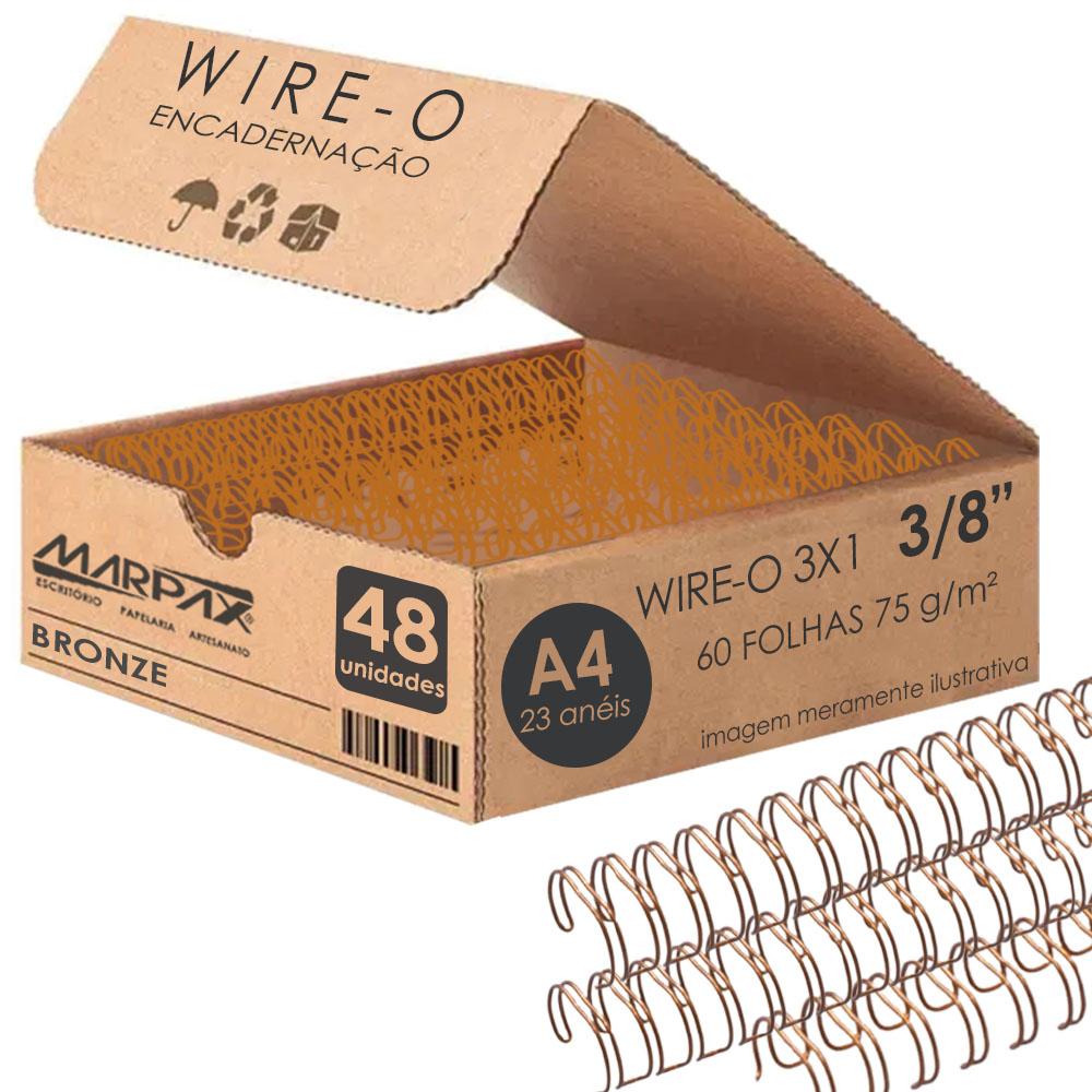 Wire-o para Encadernação 3x1 A4 Bronze 3/8 para 60 fls 48un