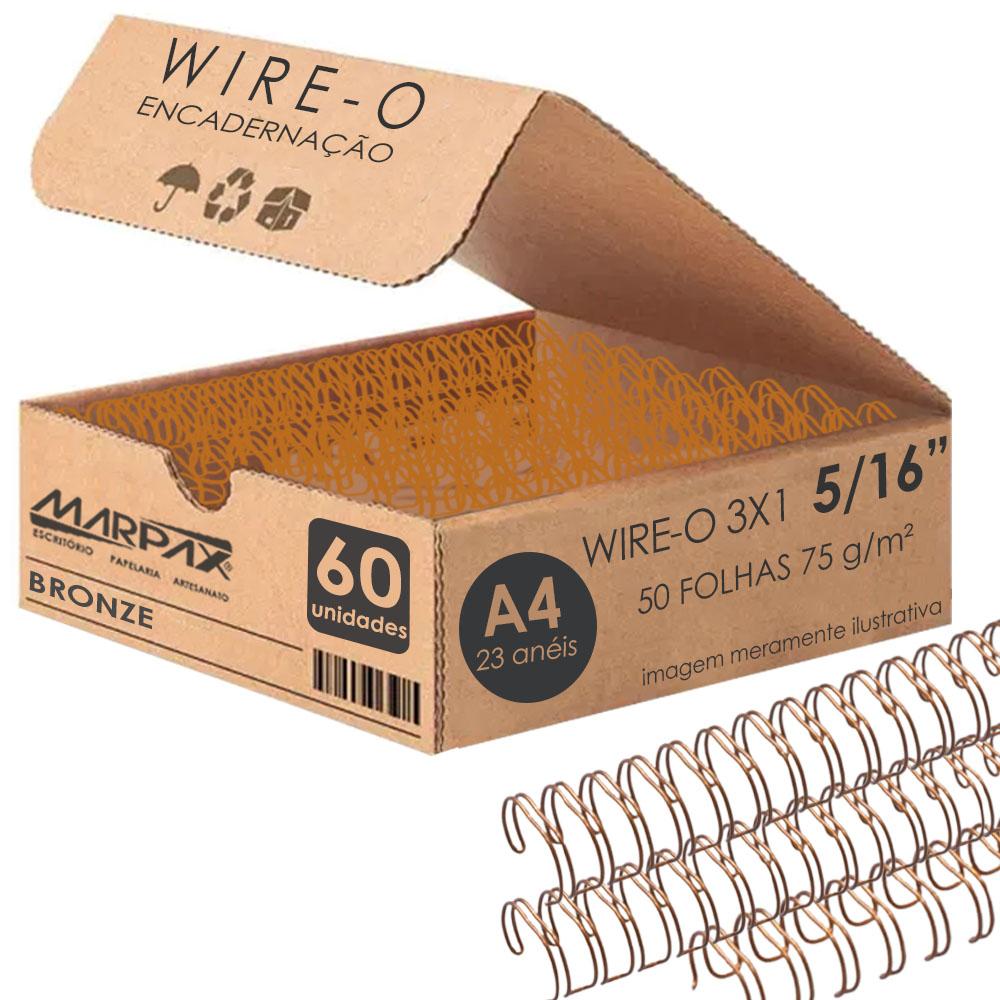 Wire-o para Encadernação 3x1 A4 Bronze 5/16 para 50fls 60un