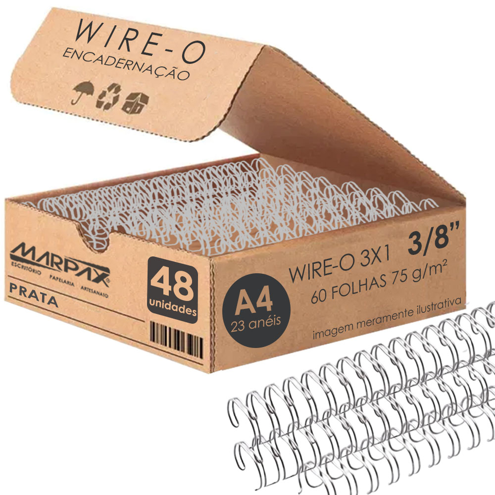 Wire-o para Encadernação 3x1 A4 Prata 3/8 para 60 fls 48un