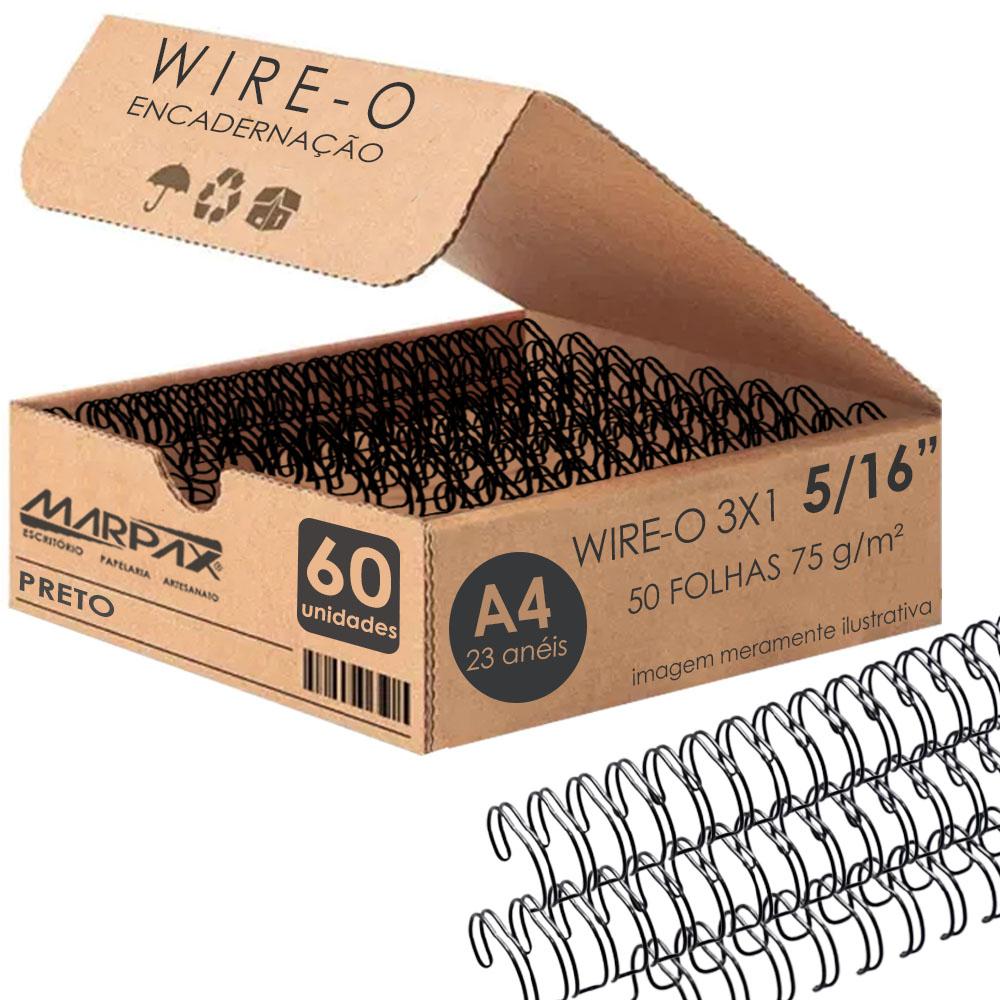 Wire-o para Encadernação 3x1 A4 Preto 5/16 para 50fls 60un
