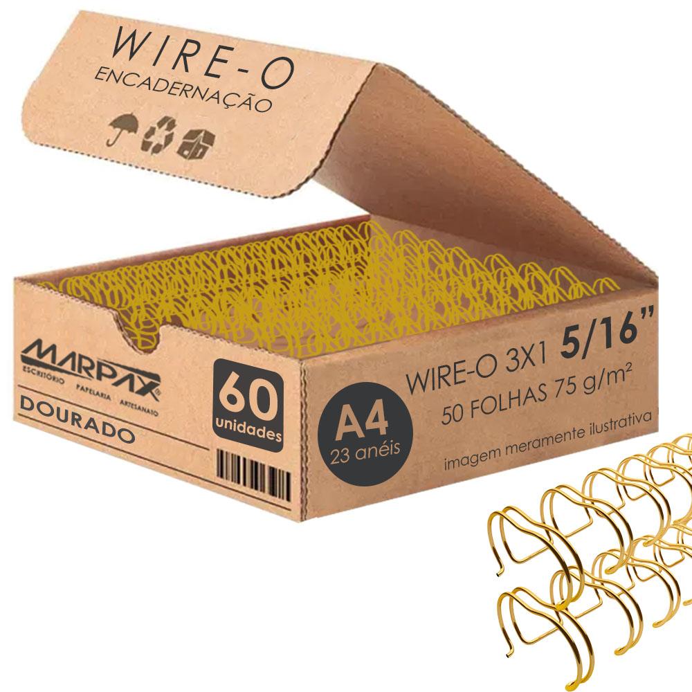 Wire-o para encadernação A4 Dourado 3x1 5/16 para 50fls 60un