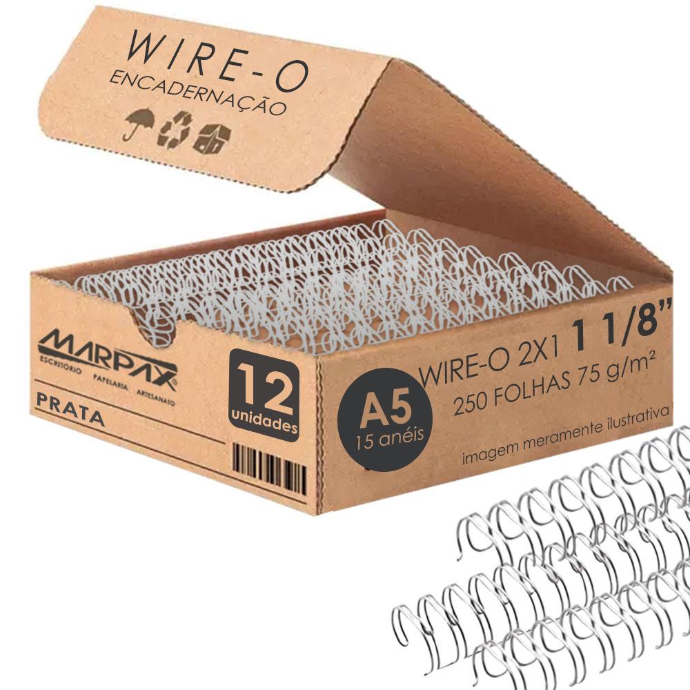 Wire-o para Encadernação A5 1 1/8 2x1 para 250fls Prata 12un