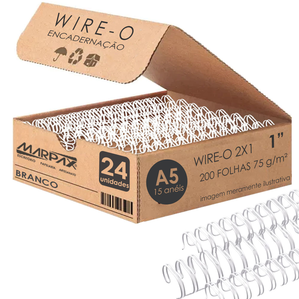 Wire-o para Encadernação A5 1 2x1 para 200fls Branco 24un