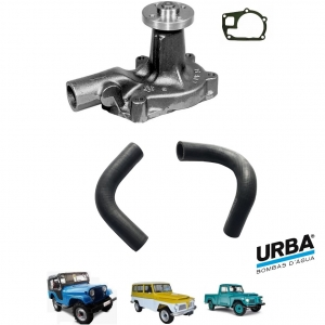 BOMBA D'AGUA 6 CILINDROS JEEP RURAL F 75 FORD WILLYS COM MANGUEIRAS