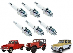JOGO VELAS JEEP / RURAL / F 75 / AERO WILLYS / MAVERICK FORD WILLYS 6 CILINDROS NGK