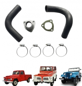 KIT COMPLETO MANGUEIRAS DO RADIADOR JEEP / RURAL / F 75 FORD WILLYS 06 CILINDROS