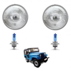 KIT PAR DE BLOCOS DE FAROL COM LAMPADA JEEP / RURAL / F 75 FORD WILLYS DO 1948 / 1983