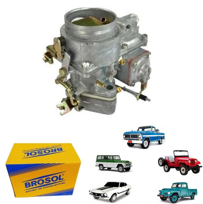 CARBURADOR SIMPLES JEEP / F 75 / RURAL / F 100 FORD WILLYS 04 CILINDROS OHC