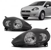 Farol Fiat Punto 2006 2007 2008 2009 2010 2011 Mascara Negra