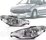 Farol Peugeot 206 1998 1999 2000 2001 2002 2003 Foco Duplo Lente Lisa Tyc