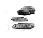 Farol Peugeot 406 2000 2001 2002 2003 Foco Duplo Lente Lisa TYC Depo