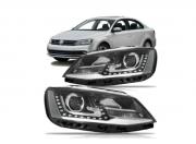 Jogo de Farol Volkswagen Jetta 2011 2012 2013 Mascara Negra Com Projetor e Led