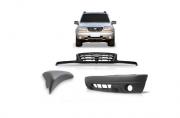 KIT Frente Chevrolet Tracker Parachoque Com Furo Milha + Moldura do Parachoque + Grade do Radiador 2004 2005 2006 2007 2008 2009